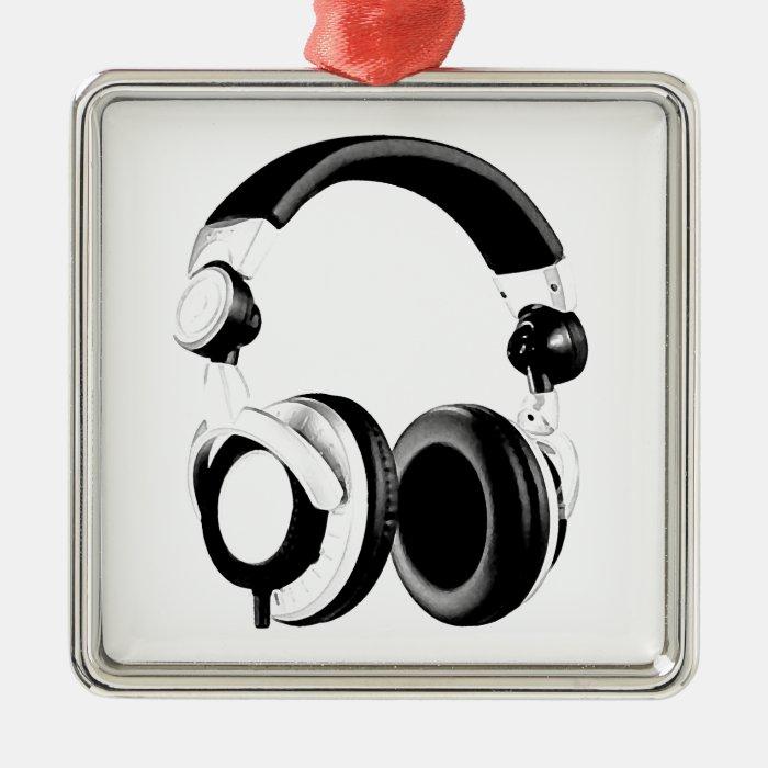 Black & White Headphone Artwork Metal Ornament