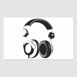 Black & White Headphone Artwork Rectangular Sticker