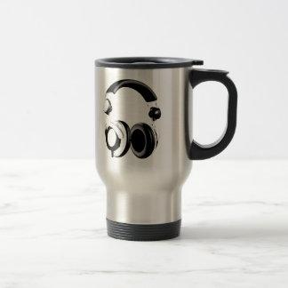 Black & White Headphone Artwork Travel Mug