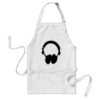Black & White Headphone Silhouette Adult Apron