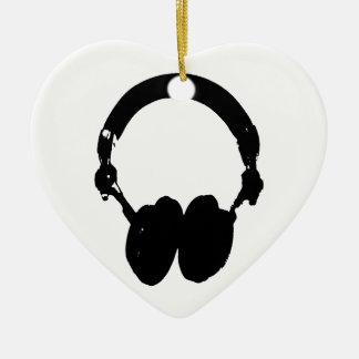 Black & White Headphone Silhouette Ceramic Ornament