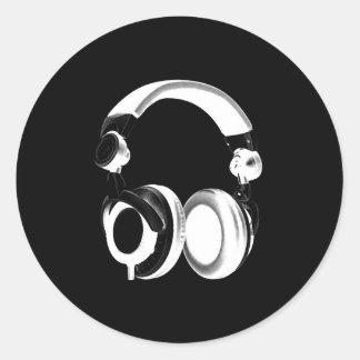 Black & White Headphone Silhouette Classic Round Sticker