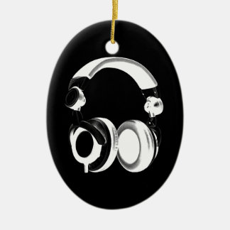 Black & White Headphone Silhouette Double-Sided Oval Ceramic Christmas Ornament