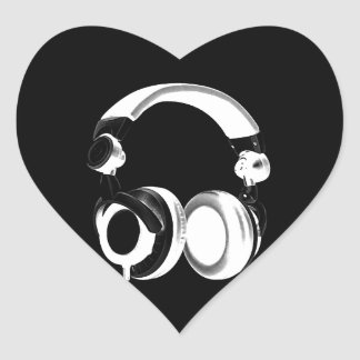 Black & White Headphone Silhouette Heart Sticker