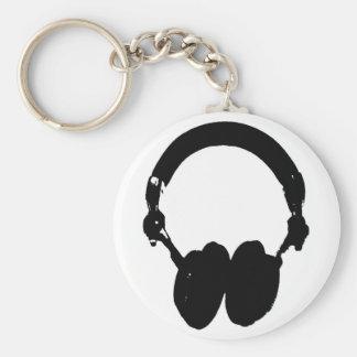 Black & White Headphone Silhouette Keychain