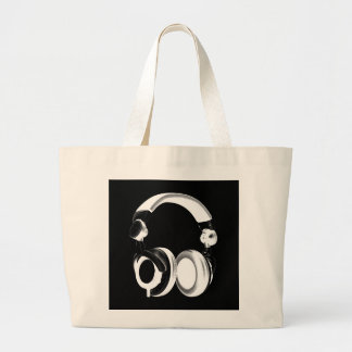 Black & White Headphone Silhouette Large Tote Bag
