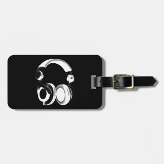 Black & White Headphone Silhouette Luggage Tag