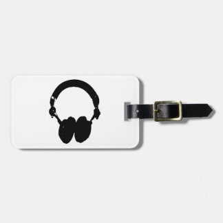 Black & White Headphone Silhouette Tag For Luggage