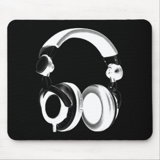 Black & White Headphone Silhouette Mouse Pad