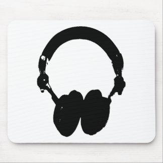 Black & White Headphone Silhouette Mouse Pad