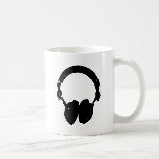 Black & White Headphone Silhouette Coffee Mug
