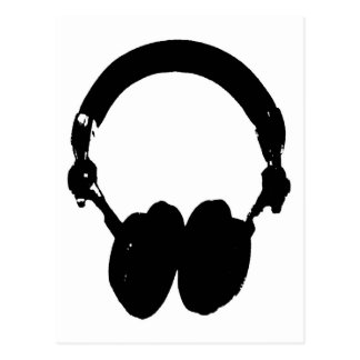 Black & White Headphone Silhouette Postcard