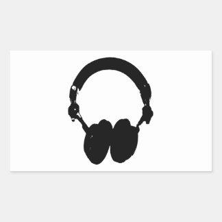 Black & White Headphone Silhouette Rectangular Sticker
