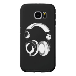 Black & White Headphone Silhouette Samsung Galaxy S6 Case