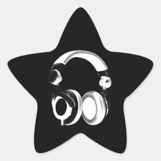 Black & White Headphone Silhouette Star Sticker