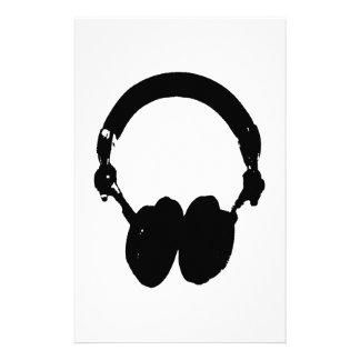 Black & White Headphone Silhouette Stationery