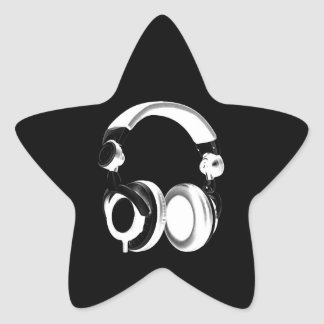Black & White Headphone Silhouette Star Stickers