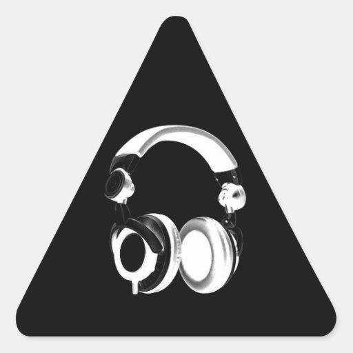Black & White Headphone Silhouette Triangle Sticker