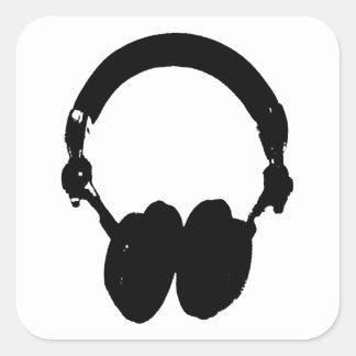 Black & White Headphone Silhouette Square Stickers