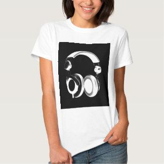 Black & White Headphone Silhouette Tee Shirts