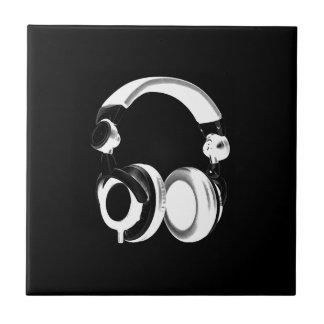 Black & White Headphone Silhouette Tile