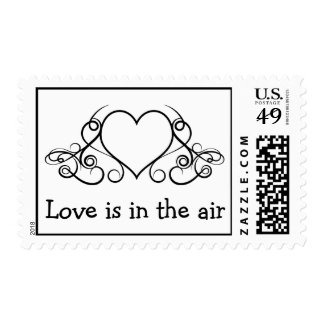 Black & White Heart Love Wedding Stickers Postage