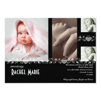 Black White Heart Scroll Photo Baby Announcement