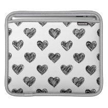 Black & White Heart Sketch Pattern iPad Sleeves