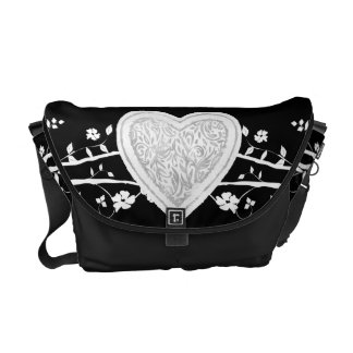 Black & white heart-vines Rickshaw Messenger Bag