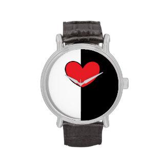 Black White Heart Watch