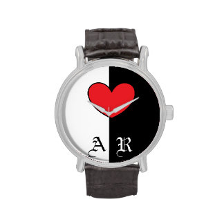 Black White Heart Watch With Initials