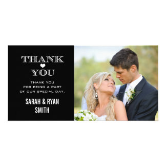 Black & White Heart Wedding Photo Thank You Cards Picture Card