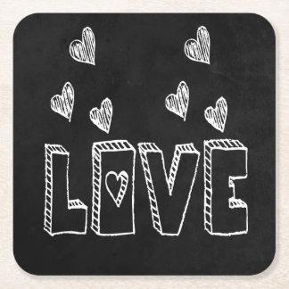 Black & White Hearts Chalkboard Love - Wedding Square Paper Coaster