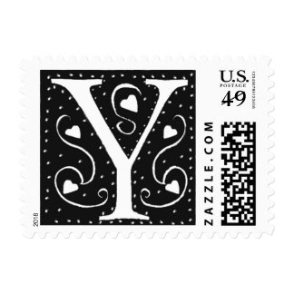 Black White Hearts Letter Y Wedding Stamps