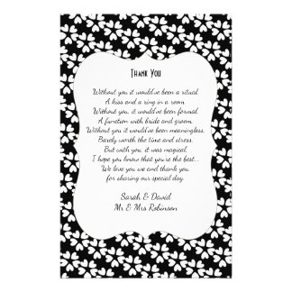 Black White Hearts Wedding Poem Thank You Scroll Flyer