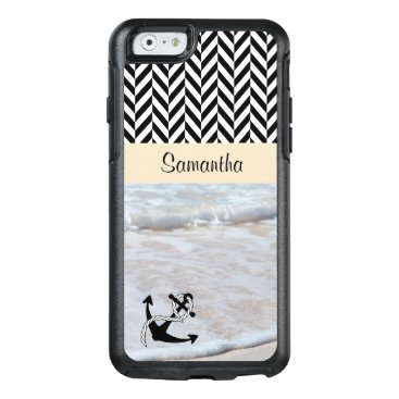 Beach Themed Black & White Herringbone - Beach Waves - OtterBox iPhone 6/6s Case
