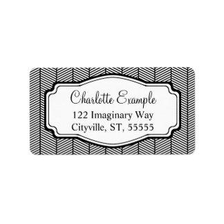 Black White Herringbone Classic Custom Personalized Address Label