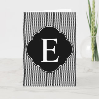Black White Herringbone Monogram Note Card