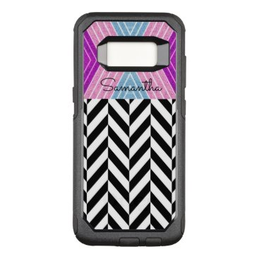 font themed Black & White Herringbone Pattern with Monogram - OtterBox Commuter Samsung Galaxy S8 Case