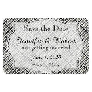 Black White Herringbone Wedding Save the Date Rectangular Magnets