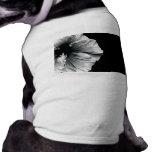 Black & White Hibiscus Flower Photography Dog Tee Shirt