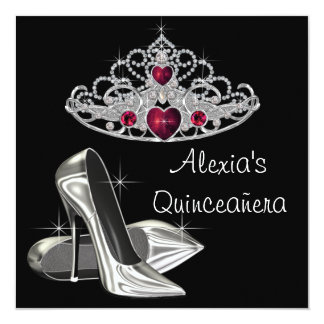 Black White High Heels Red and Black Quinceanera Card