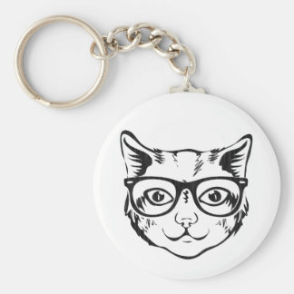 Black White Hipster Cat Key Chain