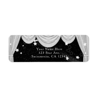 Black & White HOLLYWOOD Curtains Invitation Label