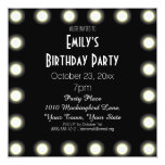 Black & White Hollywood Theme Birthday Party 5.25x5.25 Square Paper Invitation Card