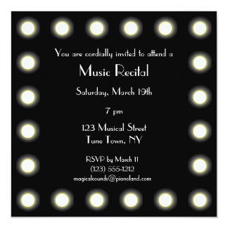 Black & White Hollywood Unisex Music Recital Card