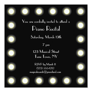 Black & White Hollywood Unisex Piano Recital Card