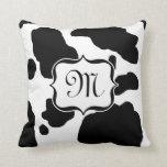 Black / White Holstein Cow Print Monogram Cushion