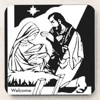 Black/White Holy Family Christmas Manger Scene Beverage Coaster