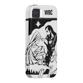 Black/White Holy Family Christmas Manger Scene iPhone 4/4S Cases